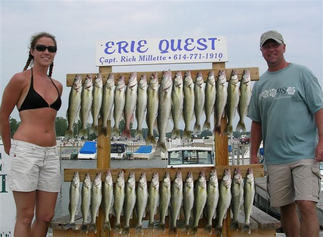 Lake Erie Walleye fishing is fun with Erie Quest Charters