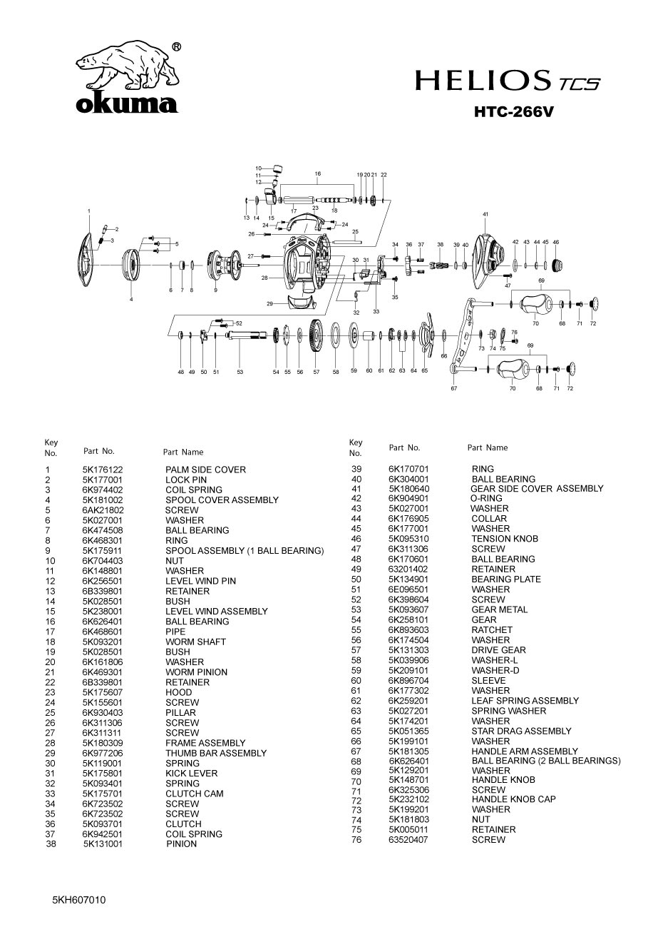 Fishing Reel Schematics - Okuma/Baitcast Reels-Low Profile